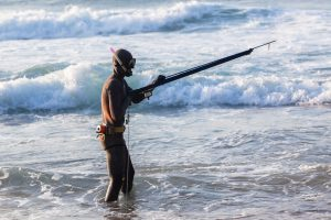 heading into the water to go spearfishing
